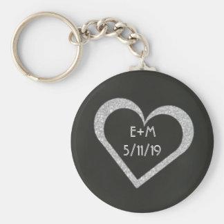Favör Keychain för svart tavlahjärtabröllop Rund Nyckelring