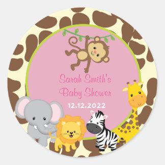 Favören för baby shower för Safaridjungelflicka Runt Klistermärke