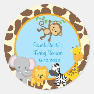 Favören för baby shower för Safaridjungelpojke Runt Klistermärke