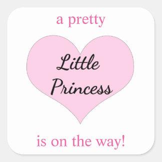 Favörer för Princess baby shower Fyrkantigt Klistermärke