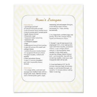 Favorit- receptsparre för familj - Lasagna Fototryck