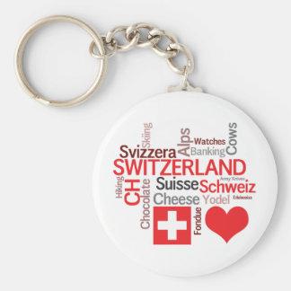 Favorit- schweiziska saker - jag älskar Schweitz Rund Nyckelring
