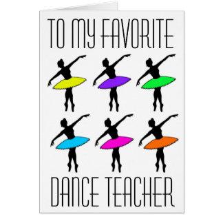 Favorit- tack för högläsning för danslärarebalett hälsningskort