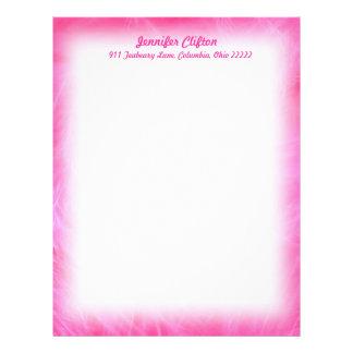 Feathery rosagränsbrevpapper brevhuvud