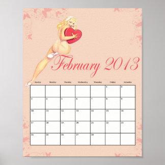 Februari 2013 klämmer fast upp kalender poster