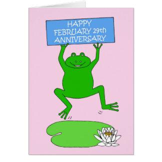Februari 29th Anniversary. Hälsningskort