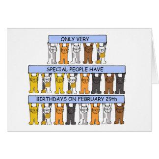 Februari 29th födelsedagar som firas av Cats. Hälsningskort