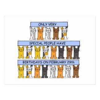 Februari 29th födelsedagar som firas av Cats. Vykort