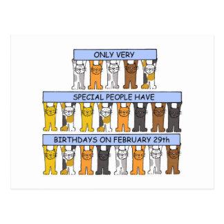 Februari 29th födelsedagkatter vykort