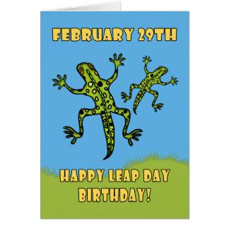 Februari 29th, skottdagfödelsedagkort, ödlor hälsningskort