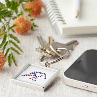 Federation Keychain för vildhästfrihet Fyrkantig Silverfärgad Nyckelring