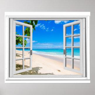 Fejka fönstret med det tropiska strandhav beskådar poster
