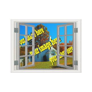 Fejka fönstret skapar dina egna vitgrått canvastryck