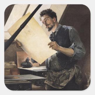 Felicien Rops i hans studio Klistermärken