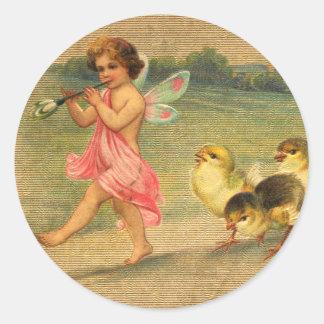 Felik pipblåsare- och chickvintagepåsk runt klistermärke