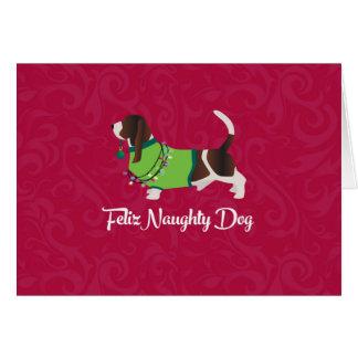 Feliz för Bassetthundjul stygg hund Hälsningskort