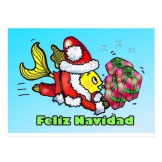 Feliz Navidad, god jul i spansk rolig cu Vykort