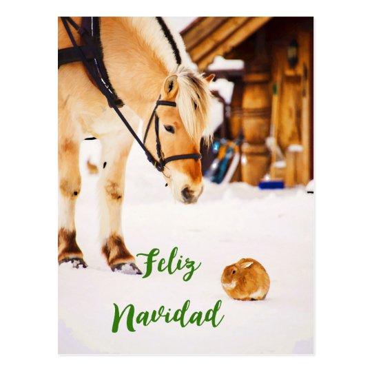Feliz Navidad jul med boskap i snö Vykort