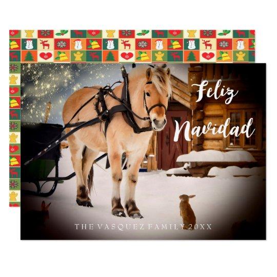 Feliz Navidad julnatt på en lantgård med hästen 8,9 X 12,7 Cm Inbjudningskort