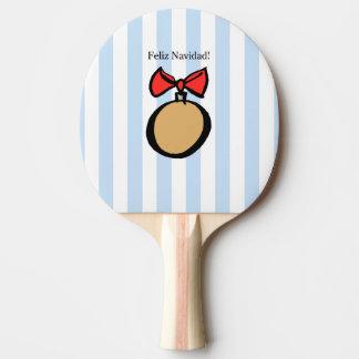 Feliz Navidad paddlar den guld- prydnadpingen Pong Pingisracket