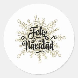 Feliz Navidad spanska julklistermärkear Runt Klistermärke