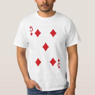Fem av diamanter som leker kortet t-shirt