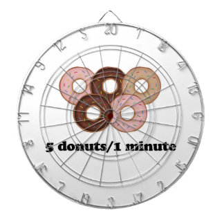 Fem donuts i en som är minimal darttavla