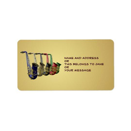 Fem för gåvamärkre för färgrika saxofoner kända adressetikett