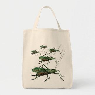 Fem gröna gräshoppor/Katydids/Bush syrsor Tygkasse