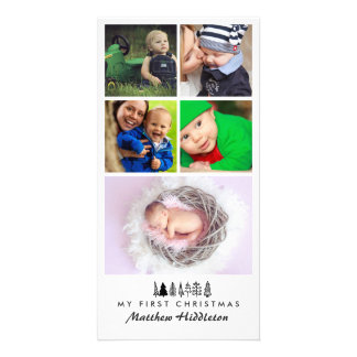 Fem jul för baby för foto   första fotokort