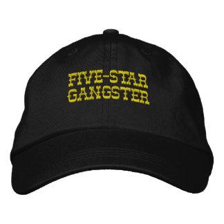 Fem-Stjärna gangster (snapbacken - svarten) Broderad Baseball Keps