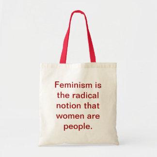 Feminism 101 hänger lös tygkassar