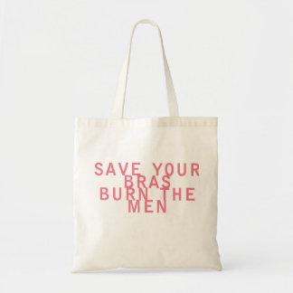 Feminismsparan dina behå bränner manar rolig budget tygkasse