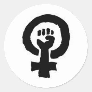 Feministiskt symbol runt klistermärke