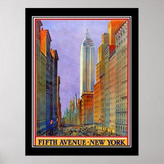 Femte vintage affisch för avenyNew York art déco