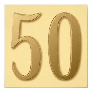 Femtio är guld- fyrkantigt 13,3 cm inbjudningskort
