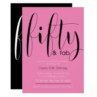 Femtio & Fab 50th födelsedaginbjudningar 12,7 X 17,8 Cm Inbjudningskort
