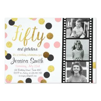 Femtio och guld- födelsedaginbjudan för glitter 12,7 x 17,8 cm inbjudningskort