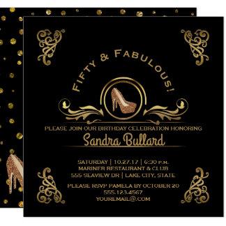Femtio och sagolik guld- högklackarfödelsedagsfest fyrkantigt 13,3 cm inbjudningskort