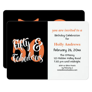 Femtio & sagolik orange typografifödelsedagsfest 12,7 x 17,8 cm inbjudningskort
