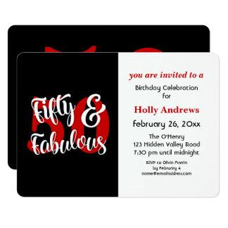 Femtio & sagolik röd typografifödelsedagsfest 12,7 x 17,8 cm inbjudningskort