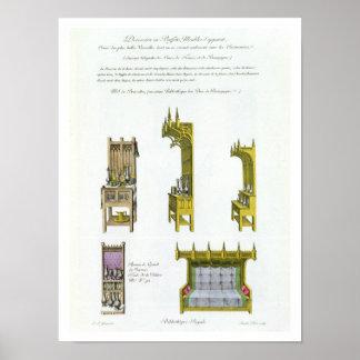 Femtonde århundradefransk- och Burgundian möbleman Poster