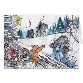 Fen kastar snöboll slagsmål hälsningskort
