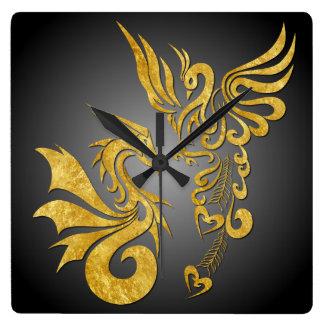 Feng Shui guld- Phoenix & drake tar tid på - svart Fyrkantig Klocka