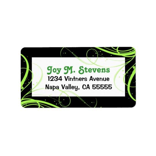 Festlig adressetikett för grönt och för svart