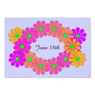 Festlig blom- kranspara datum meddelande 8,9 x 12,7 cm inbjudningskort