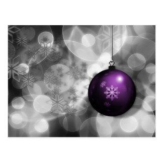 festlig helgdagskort för silverlilaprydnad vykort