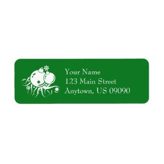 Festlig julprydnadadressetiketter (grönt) returadress etikett