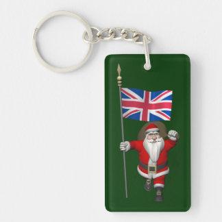 Festlig jultomten med flagga av UKEN Nyckelring