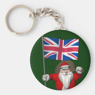 Festlig jultomten med flagga av UKEN Rund Nyckelring